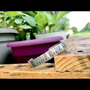 Hand stamped adjustable treeline bracelet